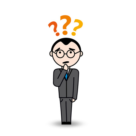 seeks: Business man seeks solutions for his question  Man with question symbol above his head  He is wearing glasses and has pensive expression