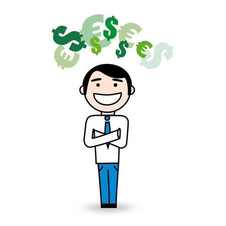superintendent: Young happy smiling business man with money symbol above his head   Illustration
