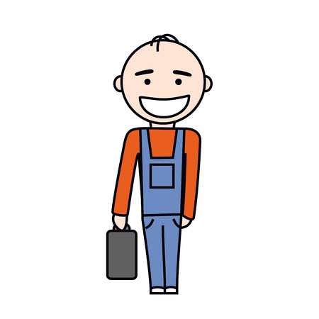 Happy worker in blue overalls with suitcase full of tools  Vector