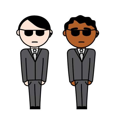 Two secret agents with black suit and earphone in their ears, One is black and one is white  Ilustração