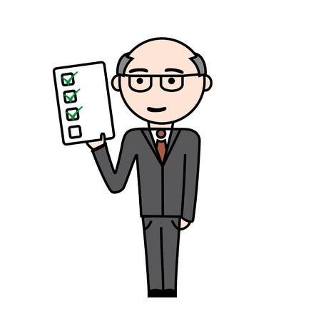 superintendent: Hombre de negocios de edad con tareas realizadas en la mano