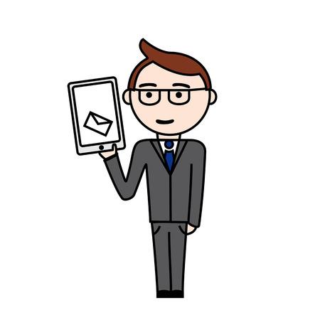 superintendent: Ilustraci�n de gerente en juego con un nuevo mensaje en su tableta Vectores
