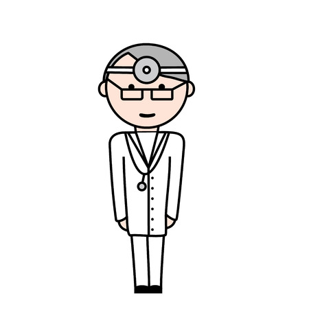 white clothes: Illustration of doctor in white clothes and with glasses. Illustration