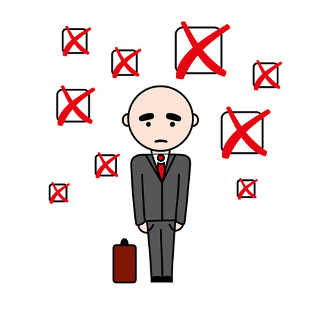 checkboxes: Illustration of unsuccsesful man in suit with suitcase with fail sign checkboxes above him.