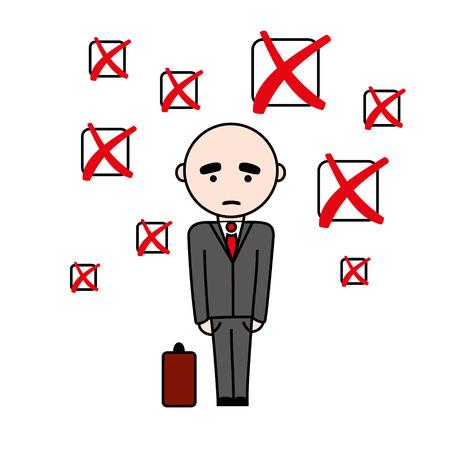 superintendent: Ilustraci�n del hombre unsuccsesful en traje con la maleta con falla casillas signo por encima de �l.