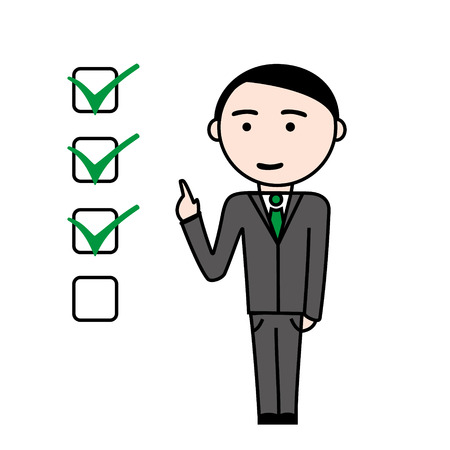 tasks: Illustration of business man with completed tasks ing green checkboxes. Illustration