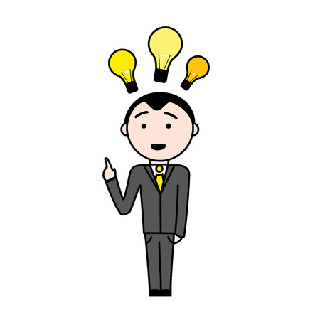 superintendent: Illustration of a business man in suit with a new idea