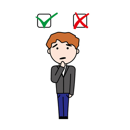 checkboxes: Illustration of boy making decision beetween yes or no question with checkboxes.