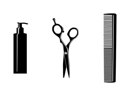 hairdresser tools on white background