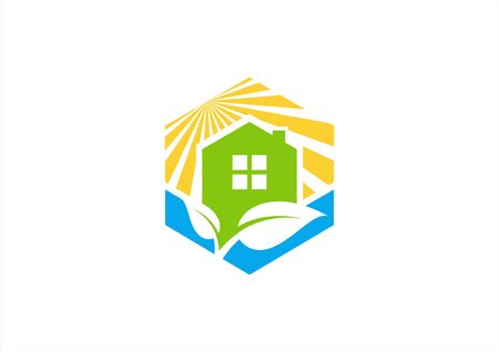 cube construction home house real estate vector logo design Illustration
