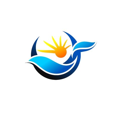 sun wave illustration logo vector, circle waves and sun symbol icon design illustration