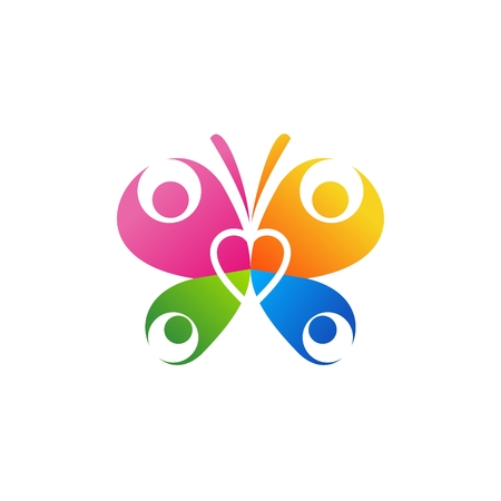 butterfly logo illustration, illustration health family concept heart icon vector template, beauty family wellness concept business symbol illustration design