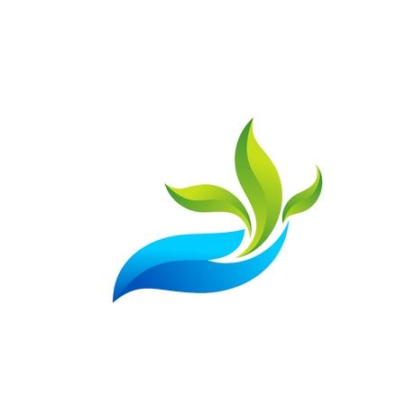 그림 추상 손을 잡고 및 생태 기호 아이콘 그림 벡터 디자인 로고, 물, 식물 요소를 잎 일러스트