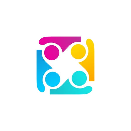 illustration team work logo template, education friendship illustration group symbol icon vector design