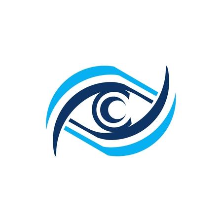 illustration modern eye vision care logo, illustration blue circle optic symbol, sphere vortex icon vector design