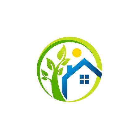 circle home blue house logo, global real estate symbol icon, circle green apartment home blue vector design Ilustracja