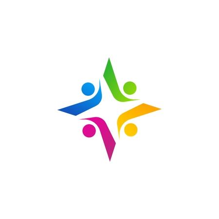 team work star logo, education friendship group star symbol icon vector design