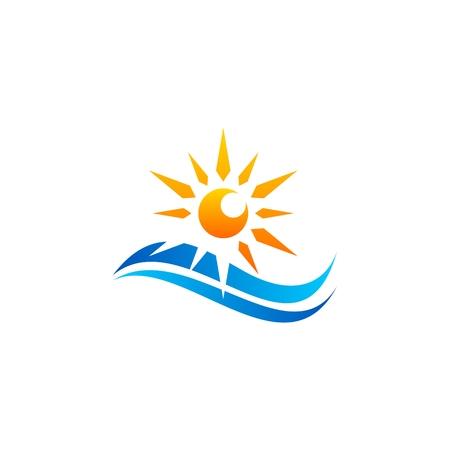 sun waves sunrise logo, sea wave sunset logo symbol icon, sunlight summer ocean elements nature  logo vector design Ilustracja