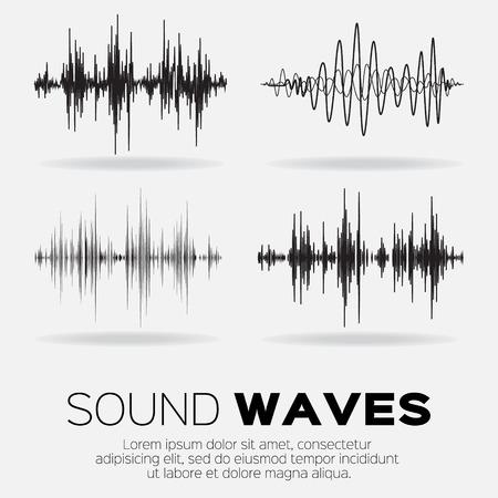 iconos de m�sica: Olas Ilustraci�n de la m�sica de sonido fijados. Tecnolog�a de ecualizador de sonido de audio, musical pulso. Ilustraci�n vectorial Vectores