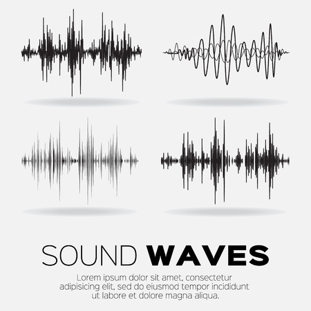 studio: Vector music sound waves set. Audio sound equalizer technology, pulse musical. Vector illustration