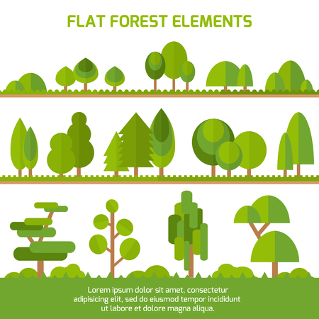 Trendy Set of different trees, bushes , grass and other natural objects. Sprites for the game. Vector flat illustration