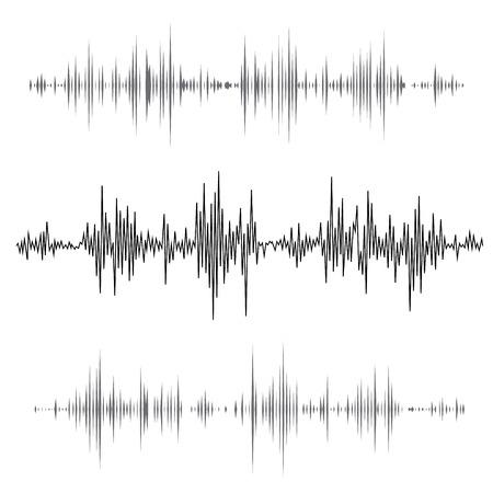 Vecteur vagues sonores musicaux définis. La technologie de l'égaliseur sonore Audio, pouls musical. Vector illustration