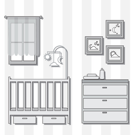 desk toy: Nursery with furniture. Baby room interior. Vector illustration. Illustration