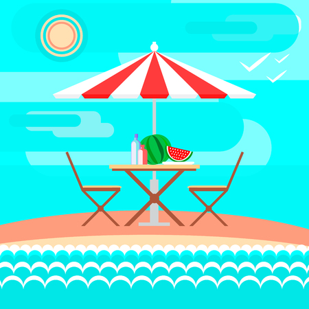 Summer on the beach: sand, sun, sea waves, sky , clouds, umbrella, table, watermelon, water. Vector illustration in flat style and background Illustration