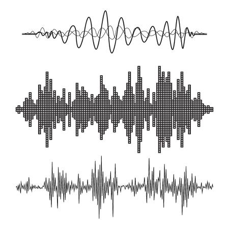Vecteur vagues sonores musicaux définis. La technologie de l'égaliseur sonore Audio, pouls musical. Vector illustration Banque d'images - 46270355