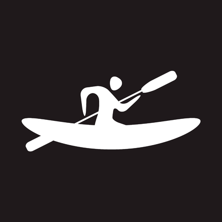 oar: Kayak and paddle square icon. Vector illustration of Outdoor activities elements - kayak and rowing oar. Kayak isolated, sea kayak Illustration