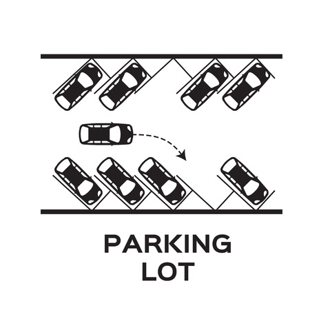 parking sign: Top View Parking lot design. Many cars parked. Vector Illustration.
