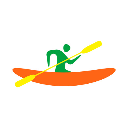 outdoor activities: Kayak and paddle square icon. Vector illustration of Outdoor activities elements - kayak and rowing oar. Kayak isolated, sea kayak Illustration