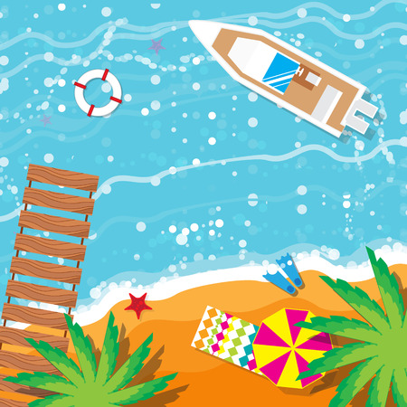 flippers: Summer vacation, time to travel, beach rest: sun, sea, waves, sand,  pier, palm,   boat, umbrella, towel, flippers, starfish, lifebuoy. Vector flat background and objects illustrations Illustration