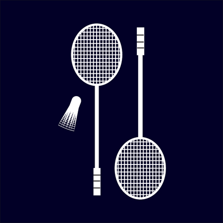 badminton: Badminton rackets and shuttlecock vector icon silhouette . Sport design elements