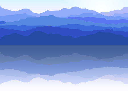 View of blue mountains reflected in the water.Mountain  landscape.