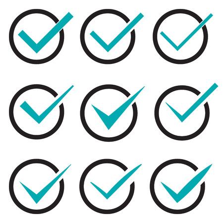 confirmacion: Conjunto de nueve diferentes marcas de verificación vector o garrapatas en los círculos conceptuales de acuerdo de votación aprobado aceptación confirmación positiva verdaderos o de finalización de tareas en una lista