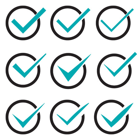 confirmation: Set of nine different vector check marks or ticks in circles conceptual of confirmation acceptance positive passed voting agreement true or completion of tasks on a list