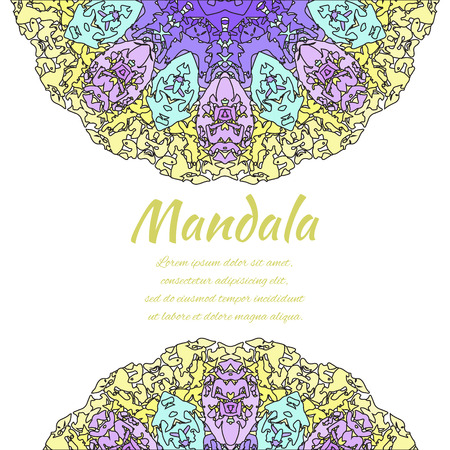 colorful frame: Abstract mandala. Floral ornamental border . Round pattern, oriental style. Decor for your design, lace ornament. Vector illustration.