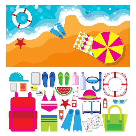 sand beach: Summer vacation, time to travel, beach rest: sun, sea, waves, sand, beach umbrella, towel, flippers, starfish, lifebuoy. Vector  illustration flat style background.