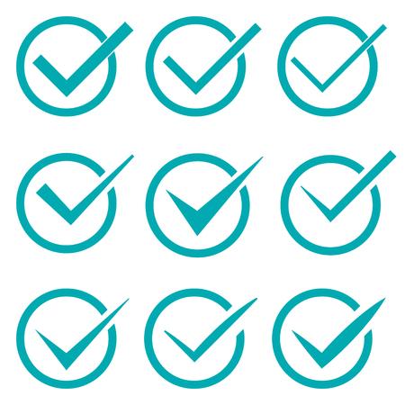 confirmacion: Conjunto de nueve diferentes marcas de verificaci�n vector o garrapatas en los c�rculos conceptuales de acuerdo de votaci�n aprobado aceptaci�n confirmaci�n positiva verdaderos o de finalizaci�n de tareas en una lista