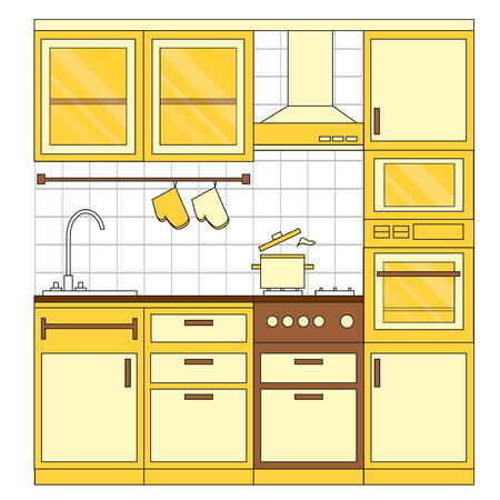 armarios: Kitchen interior design. Home furniture. Set of elements: stove, oven, microwave, cupboards, dishes, tap. Vector illustration