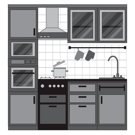 dishes set: Kitchen interior design. Home furniture. Set of elements: stove, oven, microwave, cupboards, dishes, tap. Vector illustration
