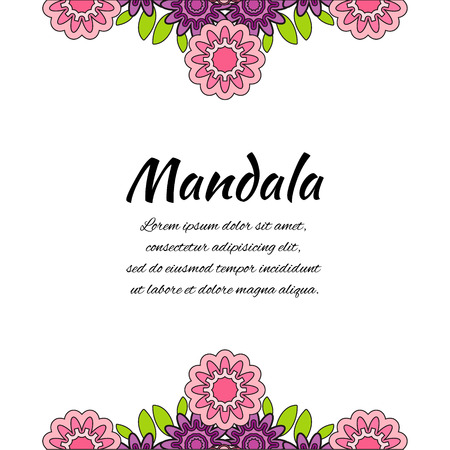 oriental background: Abstract pink purple mandala. Floral ornamental border . Round pattern, oriental style. Decor for your design, lace ornament. Vector illustration. Illustration