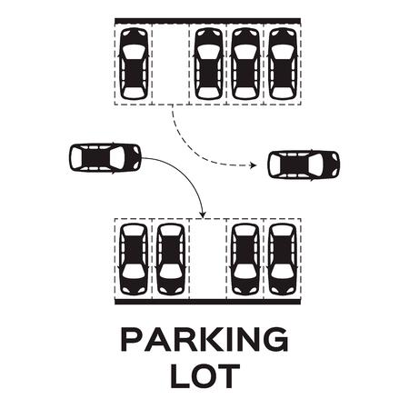 Top View Parkplatz Design. Viele Autos geparkt. Vektor-Illustration. Vektorgrafik
