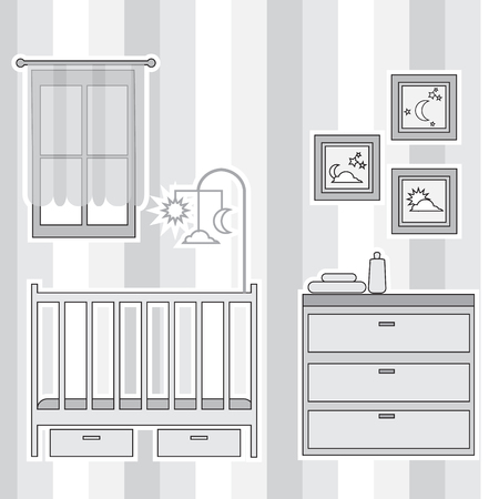 nursery room: Nursery with furniture. Baby room interior. Vector illustration. Illustration