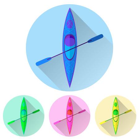 Kayak y paddle icono cuadrado. Ilustración vectorial de elementos Actividades al aire libre - kayak y remo remo. Kayak aislado, kayak de mar