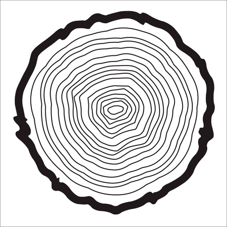 tree rings: Tree rings background and saw cut tree trunk vector, forestry and sawmill