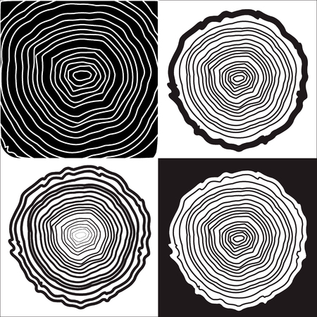 rings on a tree cut: Tree rings background and saw cut tree trunk vector, forestry and sawmill