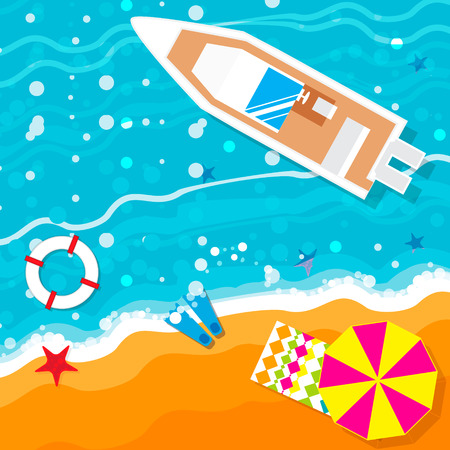 vacation time: Summer vacation, time to travel, beach rest: sun, sea, waves, sand,  umbrella, towel, flippers, starfish, lifebuoy. Vector flat background and objects illustrations
