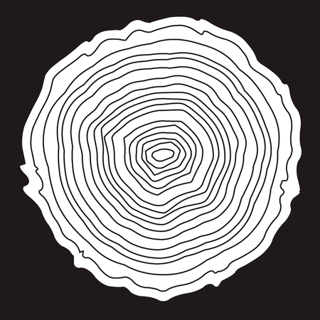 plywood: Tree rings background and saw cut tree trunk vector, forestry and sawmill